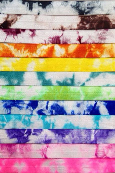Tie Dye Fold Over Elastic by the Yard - FOE Elastic - 1 Yard by Elastic Hair Bandz on Etsy