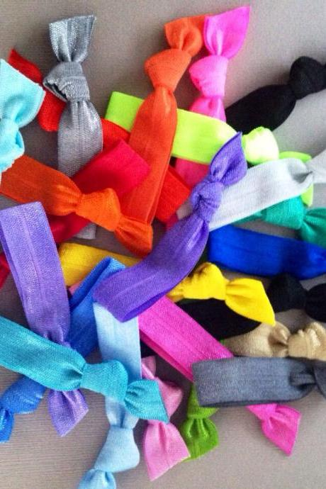 20 Solid Colored Hair Ties by Elastic Hair Bandz on Etsy