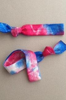 Patriotic Set - 1 Each Tie Dyed Headband and Hair Tie by ElasticHairBandz on Etsy
