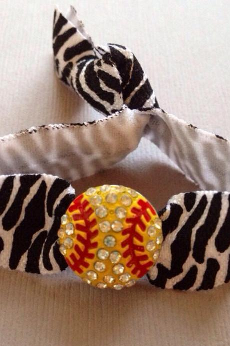 The Zebra Print Softball Hair Tie/Ponytail Holder-Bracelet - 1 Elastic Hair Tie w-Softball Charm by Elastic Hair Bandz on Etsy
