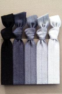 The Silver Black Ombre Hair Tie-Ponytail Holder Collection - 5 Elastic Hair Ties by Elastic Hair Bandz on Etsy