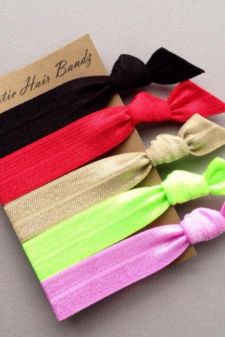 The Annie Hair Tie-Ponytail Holder Collection - 5 Elastic Hair Ties by Elastic Hair Bandz on Etsy