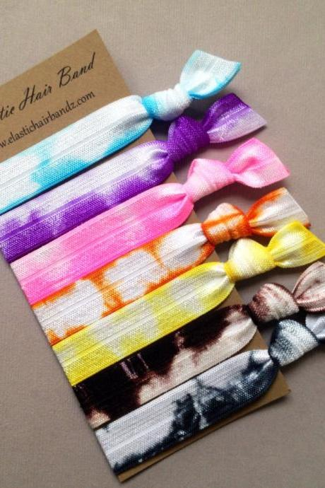 7 Elastic Hair Ties - Summer Tie Dyed Collection- Ponytail Holder - by Elastic Hair Bandz