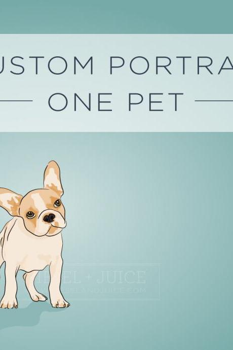 Custom Illustrated Pet Portrait - 8x10 Archival Matte Print