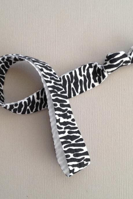 Black & White Zebra Elastic Headband by Elastic Hair Bandz