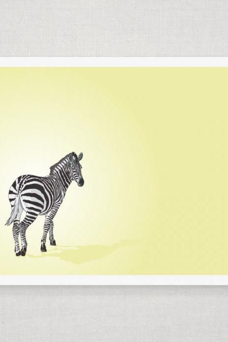 Zebra - Yellow - Illustrated Print - 8 x 10 Archival Matte Print