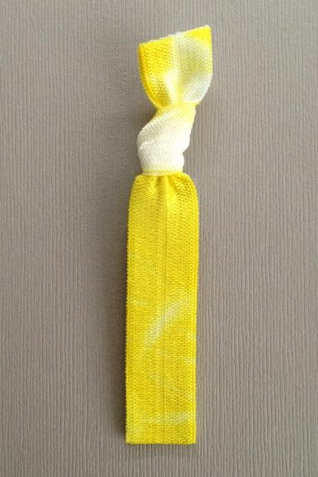 1 Yellow Tie Dye Hair Tie by Elastic Hair Bandz on Etsy