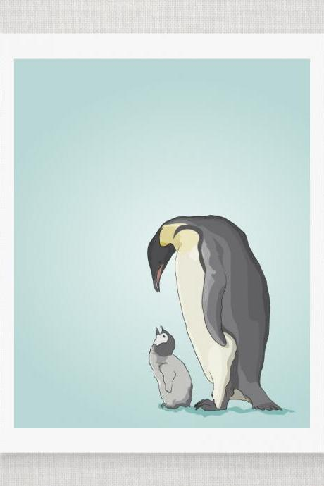 Emperor Penguins - Blue Green Illustrated Print - 8 x 10 Archival Matte Print