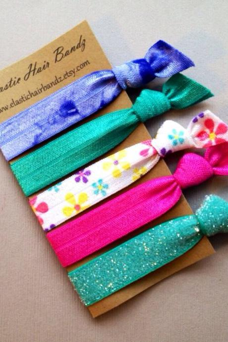The Brittany Hair Tie Collection - 5 Elastic Hair Ties by Elastic Hair Bandz on Etsy