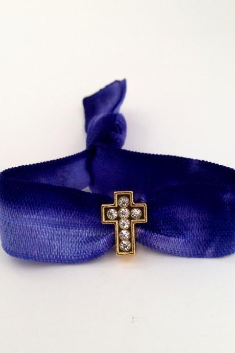 The Gold Cross Hair Tie - Ponytail Holder - by Elastic Hair Bandz