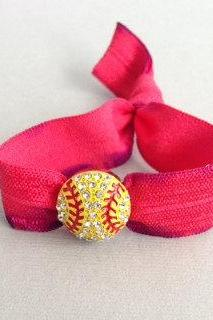 1 Rhinestone Softball Charm Bracelet-Elastic Hair Tie by Elastic Hair Bandz on Etsy