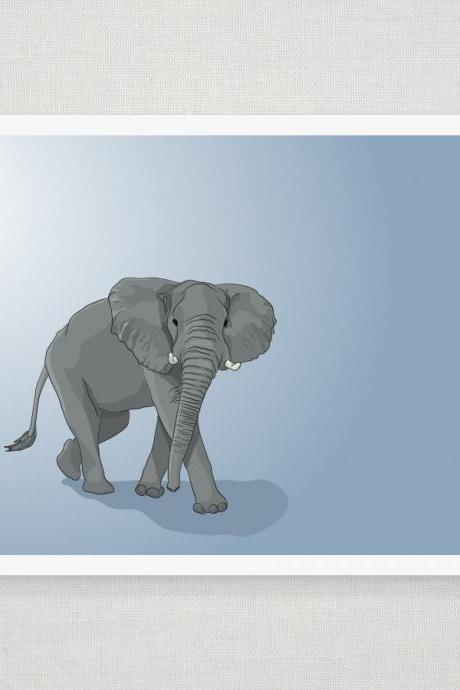 Gray Elephant on Blue - Illustrated Print - 8 x 10 Archival Matte