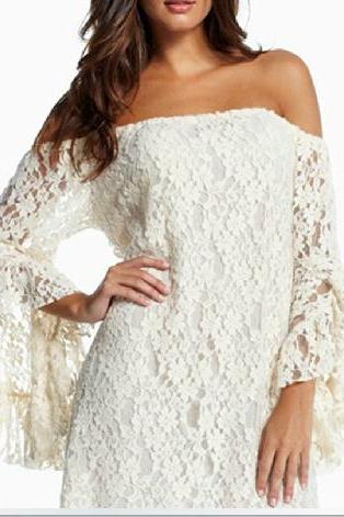 Retro White Floral Lace Dress
