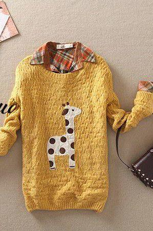 Yellow Cute Giraffe Pattern Sweater