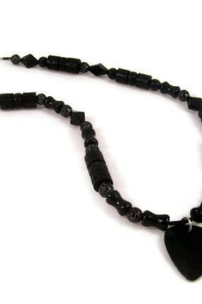 Necklace, Black Wood Guitar Pick Long Beaded Necklace with Wood Beads, Black Glass Beads, and Black Crackle Agate Gemstones, UNISEX