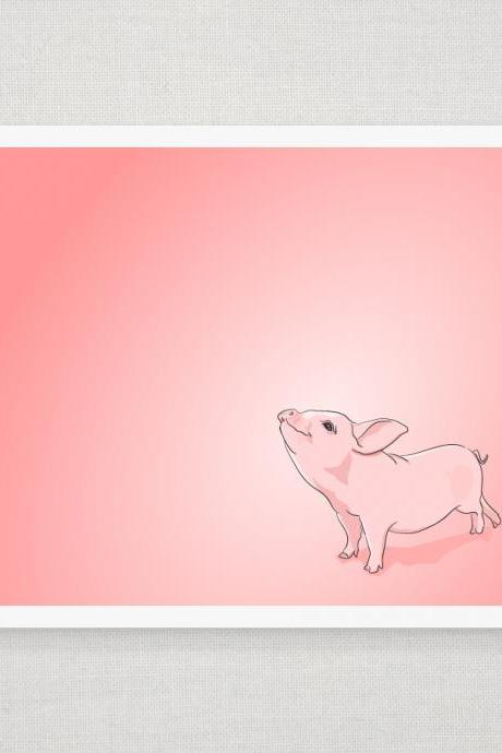 Pink Baby Pig - Digitally Illustrated - 8 x 10 Archival Matte Print