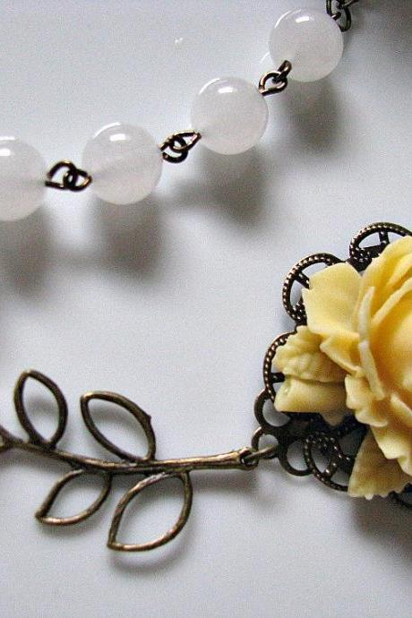 Light Yellow Rose With Round White Quartz Gemstone And Brass Filigree Leaves Branch Necklace