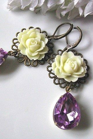 Ivory Cabbage Rose Flower With Vintage Faceted Light Amethyst Teardrops Glass Jewels Earrings - Gift For Her, Gift For Mum