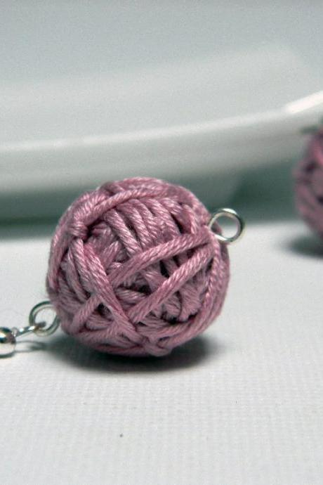 DUSTY PINK cotton yarn beads earrings - Ready to ship