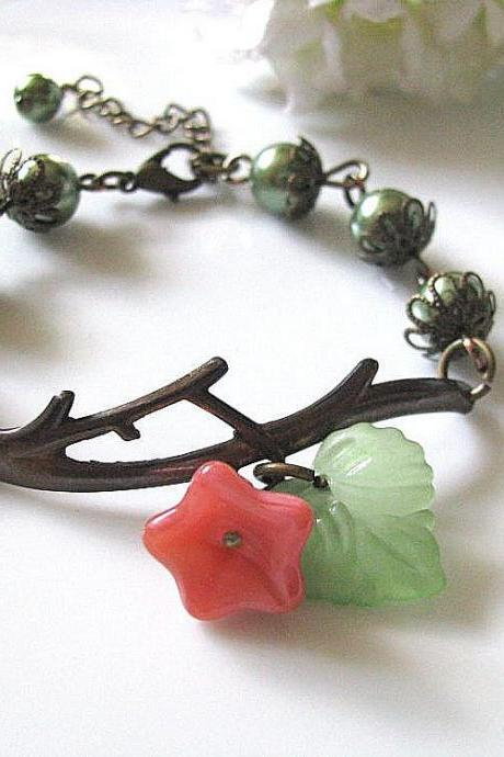 Brass Twig Bracelet with Olive Pearls - Matt Frosted Lucite Green Leaf and Pink Glass Flower, Reminiscent of the Beauty of Sprin