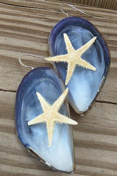 Blue Mussel Earrings - Mussel Shells and Natural Golden Starfish - Nautical Earrings - Handmade Jewelry
