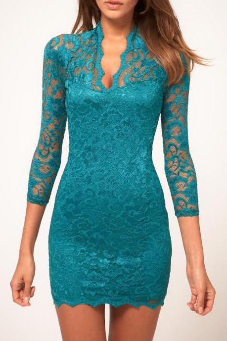 Sexy V Neck lace sleeve dress - Green