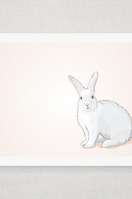 Spring Easter Bunny Rabbit on Peach - Illustrated Print - 8 x 10 Archival Matte