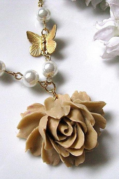 Latte Rose and Butterfly Necklace - Rose Cabochon, Raw Brass Butterfly And White Glass Pearls