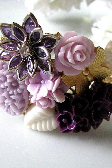 Lavender Fantasy Vintage Style Collage Bracelet - Bride, Maid Of Honour, Bridesmaids