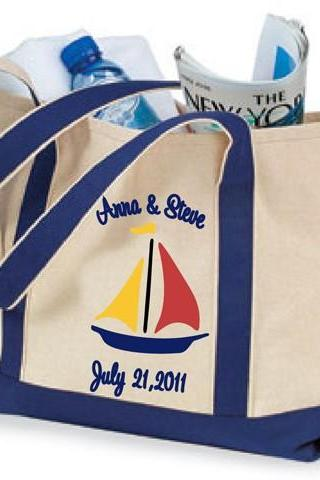 Personalized Bridal Party Boat Tote Bags
