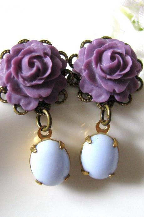 Amethyst Purple Rose Flower With Opaque Light Blue Vintage Oval Glass Stones Earrings