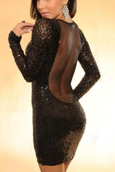 Party Essential Sequin Embellished Mesh Patchwork Black Tight Dress
