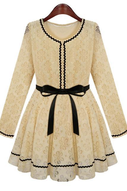 Princess Style Vogue Long Sleeve Lace Dress - Apricot