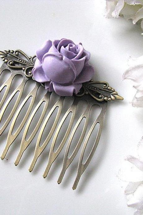 Purple Rose Bud Flower Antique Brass Filigree Hair Comb