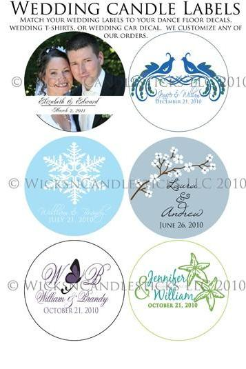 Candle Wedding Favors and Candle Christmas Favors Labels and Stickers