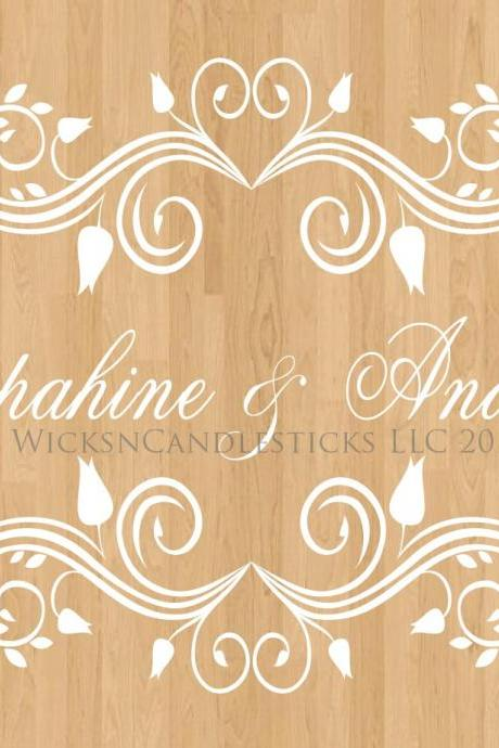 Wedding Dance Floor Decals Vintage Flourish