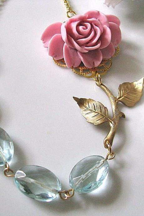 Pink Rose With Aqua Quartz Glass And Brass Branch With Leaves Necklace