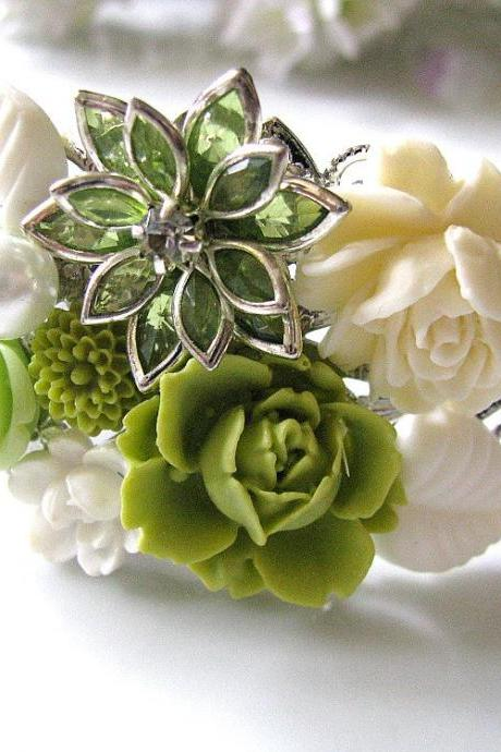 Garden Green Vintage Style Collage Bracelet - Bride, Maid Of Honour, Bridesmaids