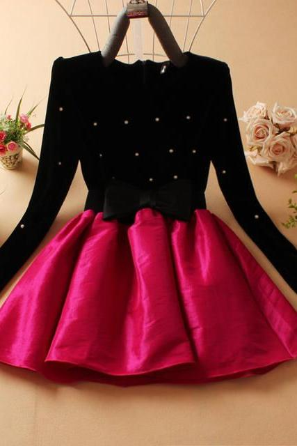 Cute And Beautiful Women's Long sleeved dress Princess Dress Evening Party Dress-Rose