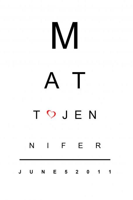 Custom Wedding Gift - Eye Chart Design - 8x10 Word Art Design