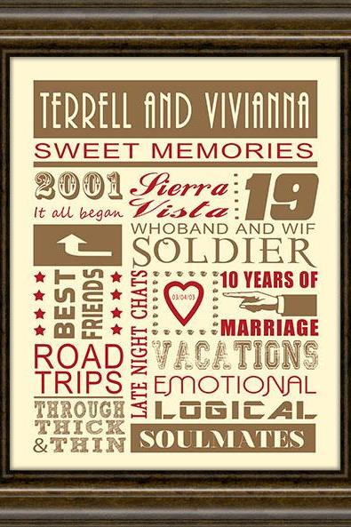 Anniversary Gift - Wedding Gift - Engagement Gift - First Anniversary Gift - Our First Year - 11X14' Print