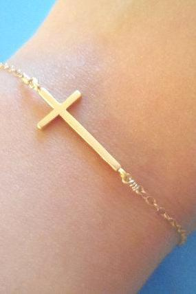 Beautiful, Dainty, Sideway Cross, GoldFilled Chain, Bracelet