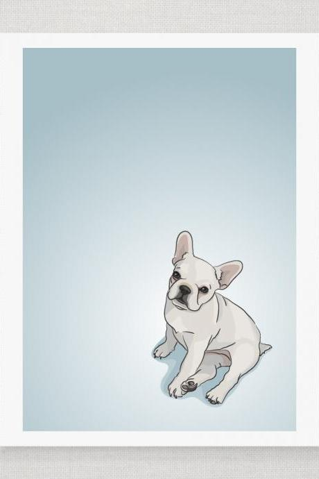 White French Bulldog Puppy - Blue Illustrated Print - 8 x 10 Archival Matte