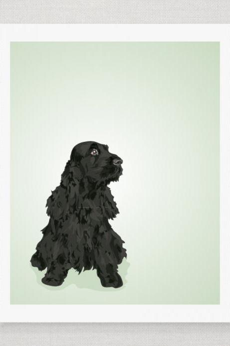 Black English Cocker Spaniel Dog Portrait - Mint Green Illustrated Print - 8 x 10 Archival Matte