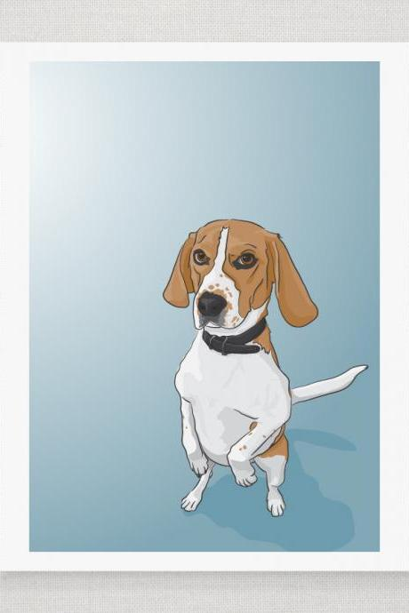 Begging Beagle Dog Portrait - Blue Illustrated Print - 8 x 10 Archival Matte