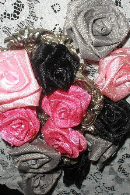 Satin Black, Pink, Grey and Hot Pink Rosettes flower set of 8, two of each color.