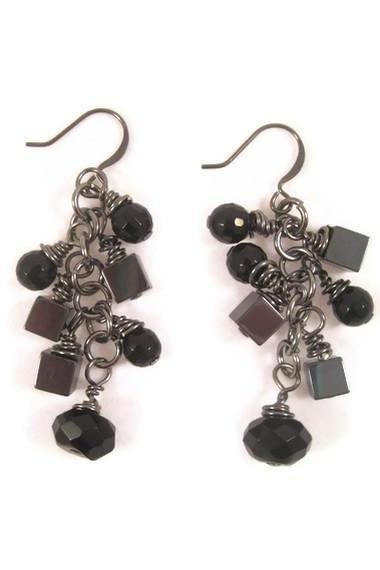 Earrings, Gun Metal Black Onyx Gemstone, Metallic Hematite, and Black Crystal Cascading Earrings