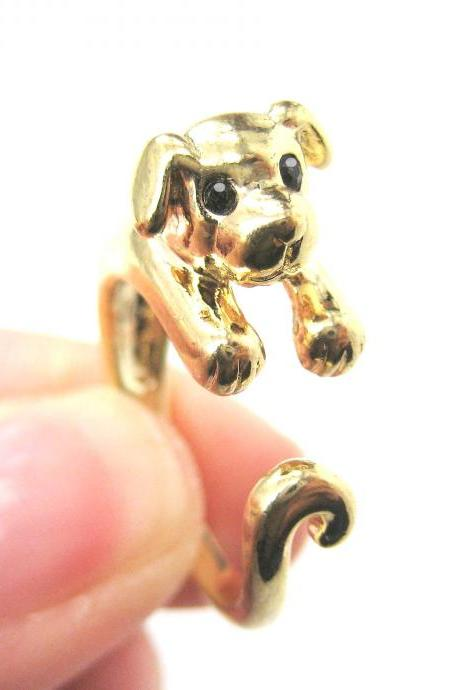 Realistic Puppy Dog Animal Pet Wrap Around Ring in Shiny Gold Sizes 4 to 9