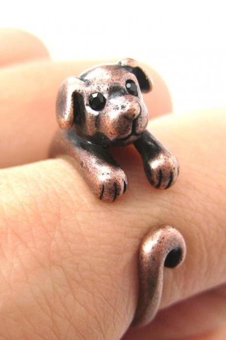 Realistic Puppy Dog Animal Pet Wrap Around Ring in Copper Sizes 4 to 9