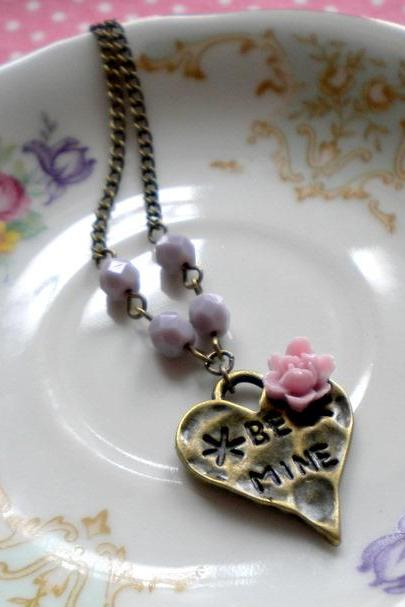 Heart Necklace - Lilac Flower Cabochon Necklace